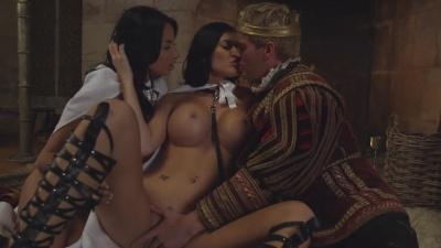 Anissa Kate & Jasmine Jae are dominated with king's iron fist & hard cock