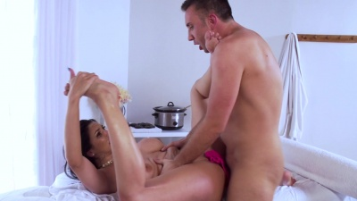 Detective Missy Martinez gets tits rub and oil sex with masseur