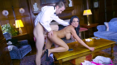 Mistress Patty Michova offers her wet holes to her butler with a monster dick
