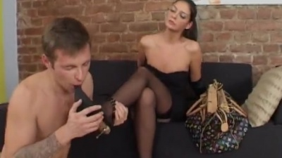 Slave licks shoes and worships feets