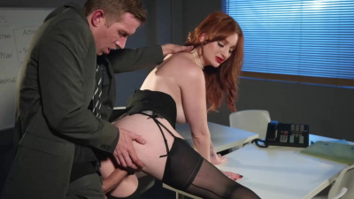 Spy Zara DuRose fucked at work in tight high stockings & a mask