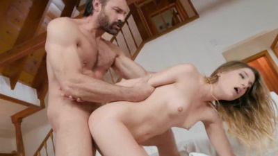 Kirsten Scott swallows cum after fucking a big cock in a secluded cabin