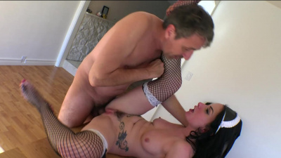 Pale french maid Veruca James takes employer's dick in her mouth and ass