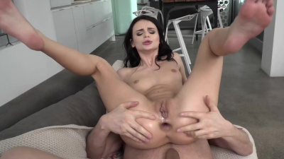 Gorgeous Kate Rich fills her hole with her lover's massive shaft