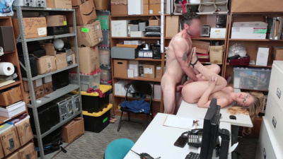 Perky shoplifter Taylor Blake spreads her pussy for an officer