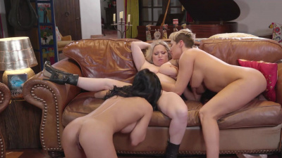 Crystal Crush, Aiden Starr, and Ryan Keely cougars lesbian party