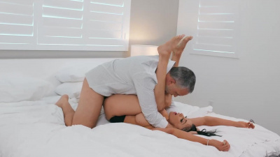 Sexy brunette Audrey Bitoni has sex with her ex and gets cum on her face