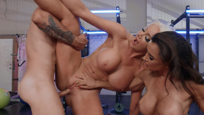 Wealthy milfs Lisa Ann and Nicolette Shea compete for a stiff dick