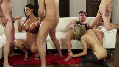 Jasmine Jae brings her stepdaughters Amber Ivy and Maxim Law to the swingers party