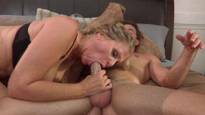 Mature blonde Julia Ann has protected sex with her young lover