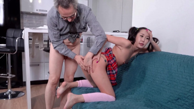 Two-tailed cutie in sexy outfit Li Loo playing sex games