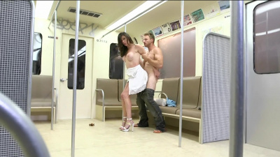 Violet Raye don't give a fuck about having sex in public transport