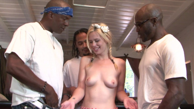 White slut Tara Lynn Foxx gangbanged by 3 black studs