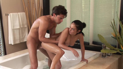Brunette Masseuse Stephanie Cane gives a special treatment to a new client