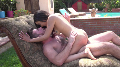 Dirty whore Maya Bijou gets fucked outside by the pool