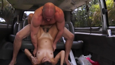 Georgia Peach takes a hard dick down her throat & up her cunt in the bus