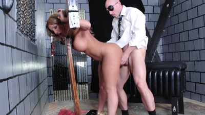 Richelle Ryan gets locked in sex stocks & pounded hard by her boss