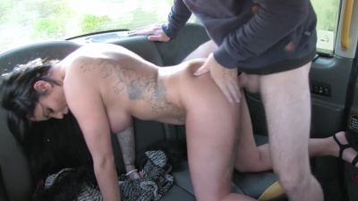 Busty milf Candy Sexton squirt all over the backseat while fucking the driver
