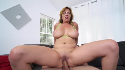 Busty Jazmyn Ryder gets her melons messed in cum after a hard fuck